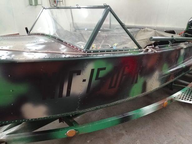 Мотор Yamaha 25, лодка Южанка, лафет