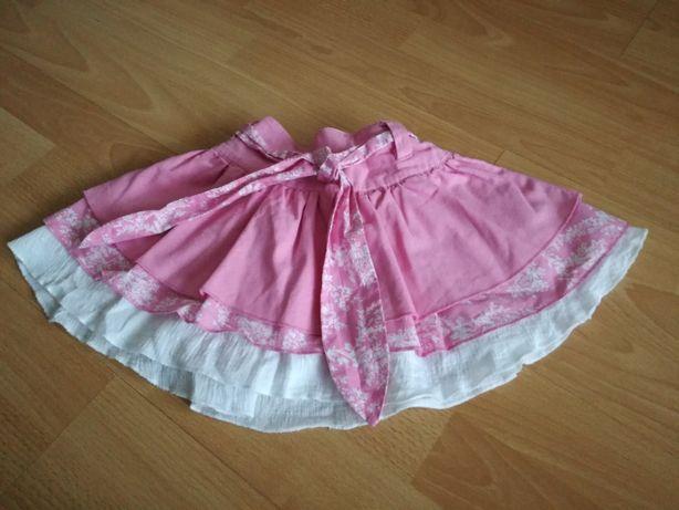 Spódniczka różowo-biała dla dziewczynki, rozm. 92 + sukienka rozm. 86