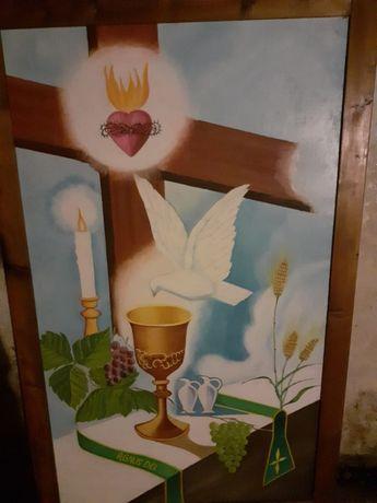 Święty obraz malowany farbą olejną