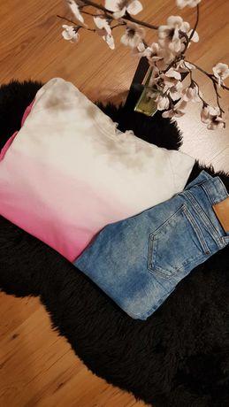 Cudny zestaw:)bluza ombre LINDEX spodnie dżinsowe SLIM DETROIT 146/152