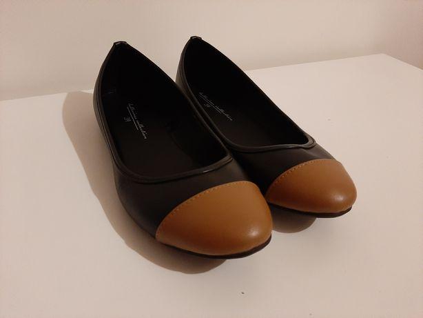 Sapatos rasos camel/preto