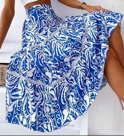 Piekna błękitno-biała spodnica Uniwersalna
