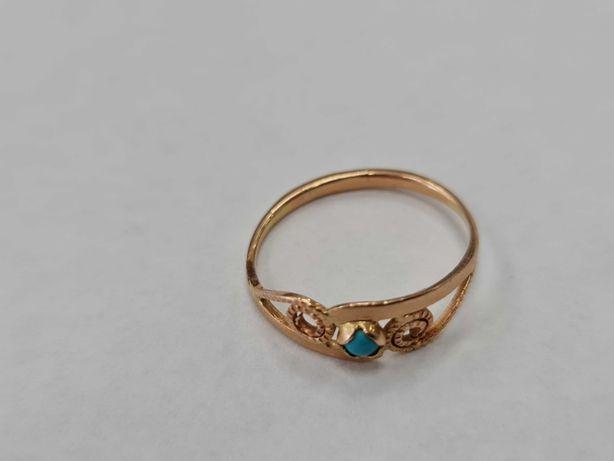 Klasyczny złoty pierścionek/ 583/ 1.65 gram/ R18/ Turkus