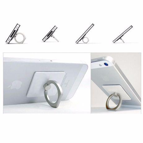 Grip/anel autocolante para telemóvel - cinzento e prateado - Novo