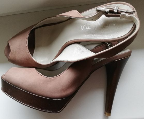 skórzane eleganckie sandały Venezia r. 37,5 szpilki beżowe skóra natur