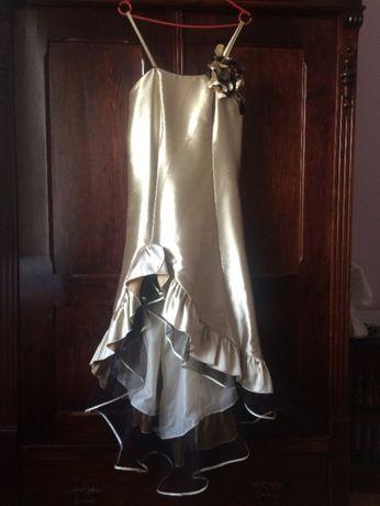 Sukienka na wesele, złota z falbanami, rozm. 38-42