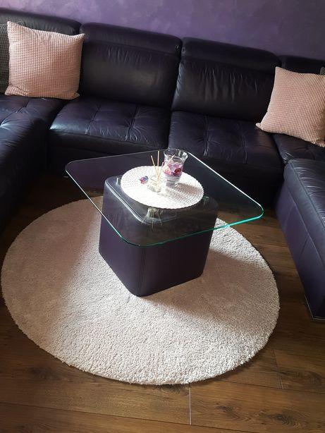Szklany stolik Etap Sofa 70x70 na skórzanej pufie nowy 839zł