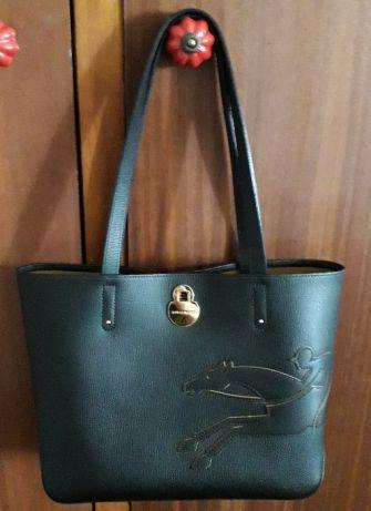 Linda Mala Longchamp ORIGINAL em pele preta - Exclusivo