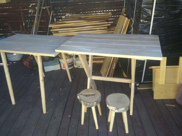 Stół drewniany z taboretami, komplet do altanki lub ogrodu