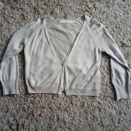 Sweterek, kardigan 3/4, Zara beżowy ze złotą nitką S