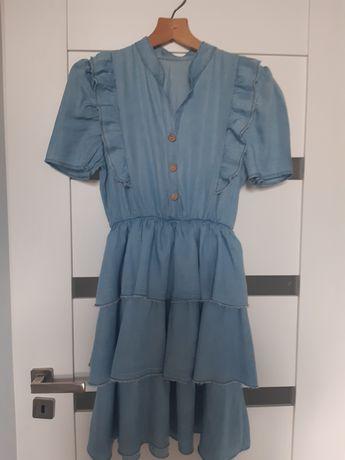 Sukienka dżinsowa falbanki moda włoska Nowa rozmiar M/L