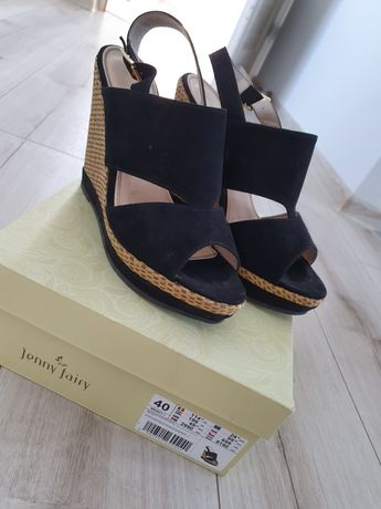 Sandałki na koturnie czarne Jenny Fairy rozmiar 40
