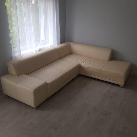 Narożnik rogówka kanapa sofa żólty żółta skóra eko