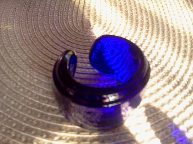 Serwetnik obrączka   szklo kobaltowe -kolorowe artystyczne