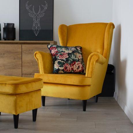 Fotel Uszak BLUM Skandynawski Miodowy Wybór Kolorów