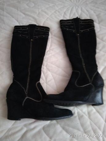 Buty damskie czarne zamszowe
