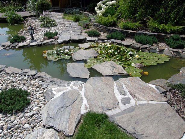 Płyty ogrodowe na kaskady szaro miodowe Kamień ścieżkowy do Oczka