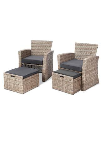 Dwa fotele + pufy wsuwane! Meble ogrodowe, tarasowe technorattan!