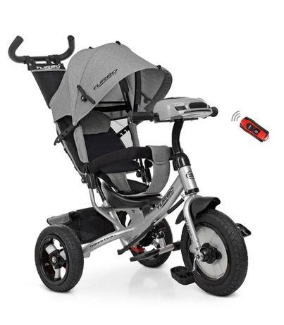 Трёхколёсный велосипед Турбо Трайк СЕРЫЙ, USB, надувные колёса, Фара