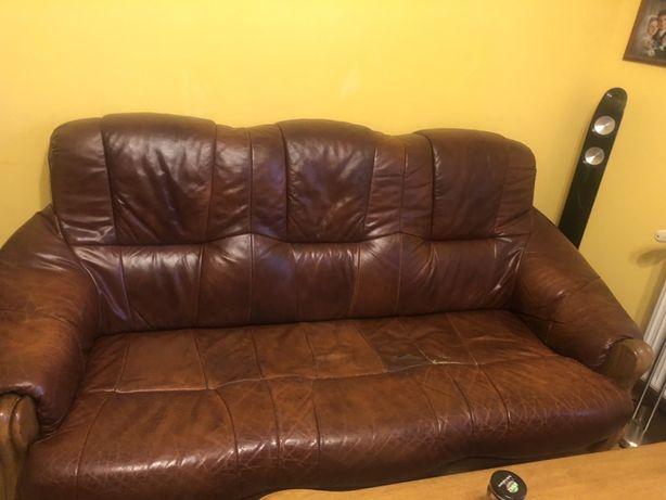 Sofa + 2 fotele skóra naturalna