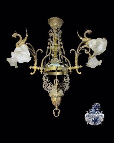 Антикварная бронзовая люстра антикварный светильник винтажная лампа