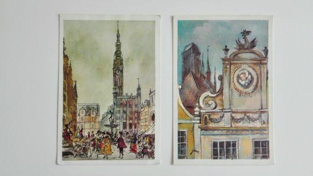 2 pocztówki / J. M. Szancer / DEOTYMA - Panienka z okienka