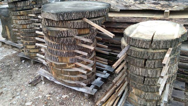JESION krążki z korą plastry drewna, średnica 60-90 cm, grubość 8 cm