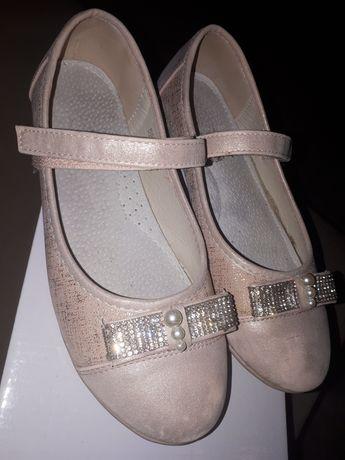 Buty pastorałki baleriny pudrowy róż 35