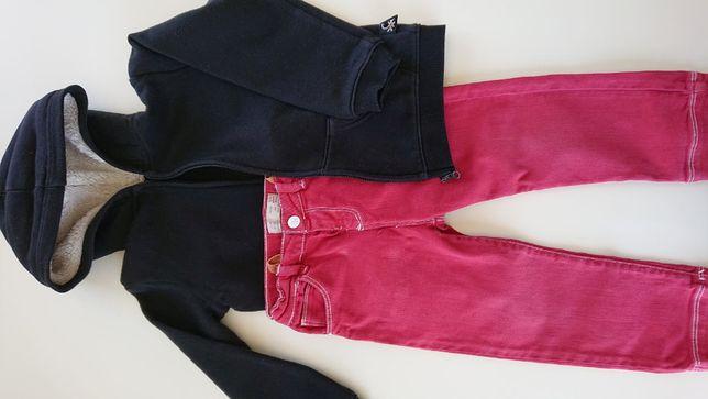 Komplet bluza, golf i czerwone spodnie