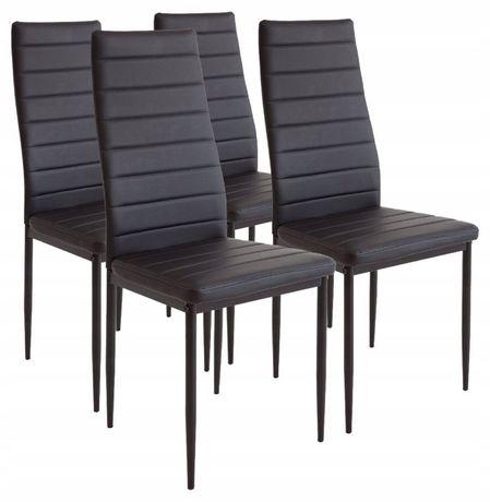 Krzesła do Jadalni Albatros 4szt Skóra Czerń