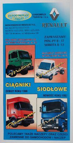 Renault ciągniki siodłowe - prospekt ulotka reklamowa 1998 r.