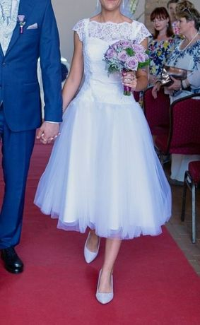 Retro, krótka suknia ślubna w stylu lat 50