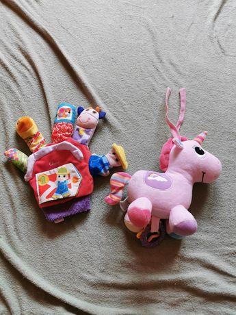 Kolorowa rękawica do zabawy z niemowlakiem plus jednorożec