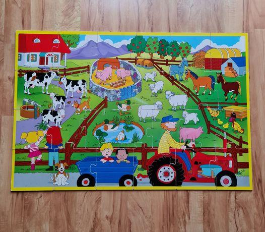 2 x Puzzle drewniane duże farma zwierzątka liczby 91x61 cm 2 sztuki