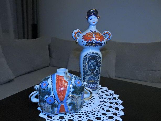 Porcelanowy wazon + karafka ozdobna