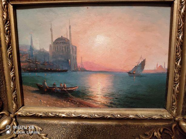 Старинная Картина морской пейзаж, бумага , маслоАйвазовский ?