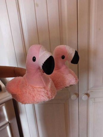Kapcie różowe flamingi nowe na prezent PRIMARK pluszowe