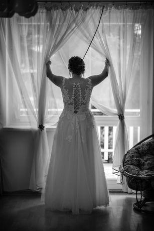 Suknia ślubna księżniczka litera A koronka śmietankowa delikatna 38 40