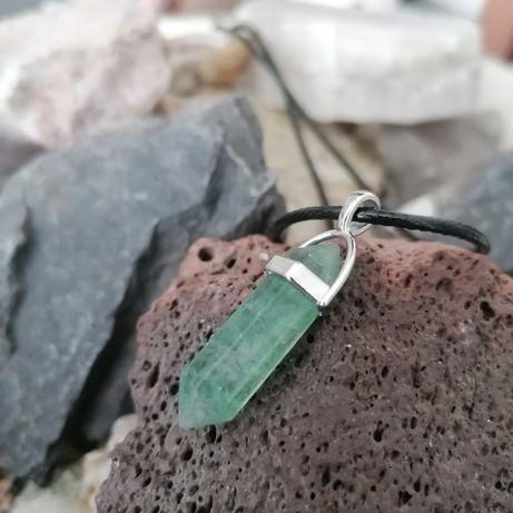 Wisiorek, zawieszka, naszyjnik, talizman, zielony amertst