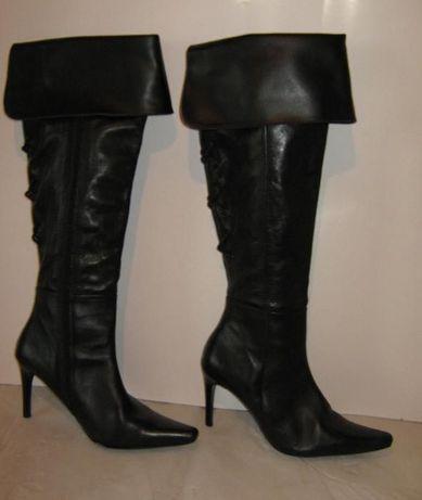 Сапоги ботфорты р.41 Look демисезон натуральная кожа черные на каблуке