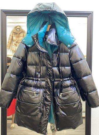 Czarny Płaszcz puchowy oversize pikowany