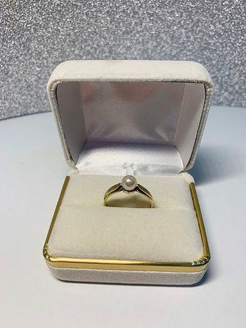 Pierścionek złoty z perłą R:18