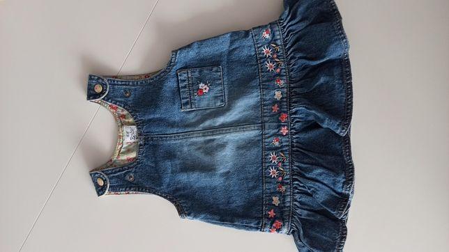 Sukienka jeansowa H&M roz 62 ogrodniczka