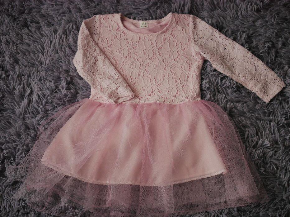 Sukienka sukieneczka elegancka koronkowa tiul róż rozmiar 110 Piotrków Trybunalski - image 1