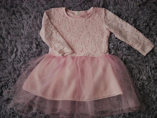 Sukienka sukieneczka elegancka koronkowa tiul róż rozmiar 110