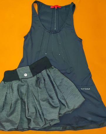 Тёмно-синий сарафан и серая юбка для школы девочке 10лет