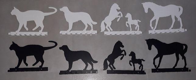 Wieszak ścienny na ubrania klucze, motyw motywy koń konie kot pies