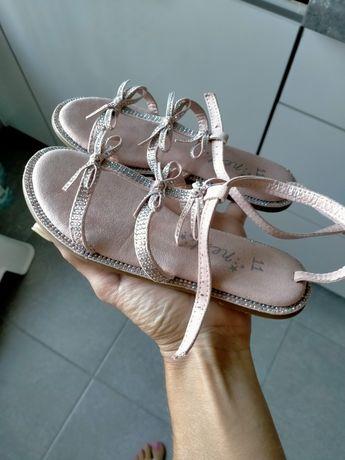 Sandałki ,z kamyczkami, świecące, pudrowy róż Next 11, róż 29