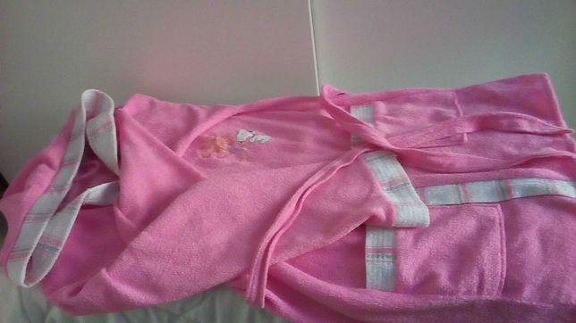 Ciepły, różowy szlafrok z kieszeniami (roz. XL)
