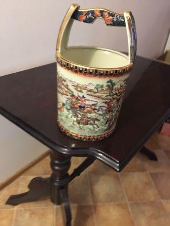 Szklany wazon recznie malowany